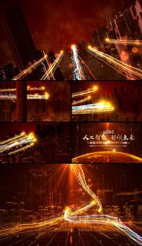 大气红色科技粒子光线宣传片头ae模板