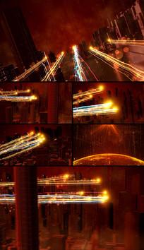 大气红色科技粒子光线宣传无落版片头视频模板
