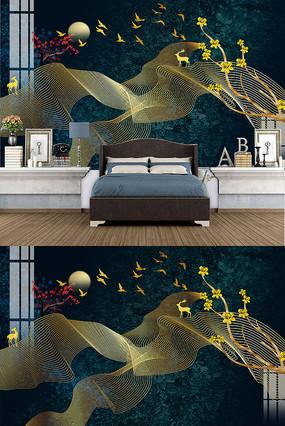 欧式金色抽像飞鸟背景墙