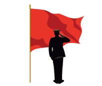 向红旗敬礼的战士