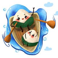 原创端午划船的粽子