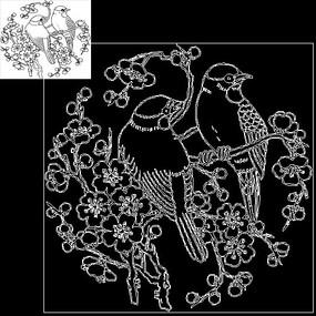 CAD线稿图喜鹊麻雀动物鸟类素材元素
