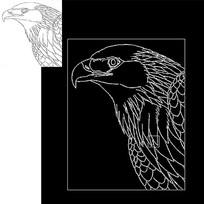 cad老鹰线稿动物素材雕刻图案元素