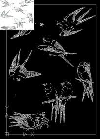 cad燕子线稿素材图案