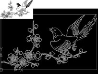 cad燕子小鸟线稿图元素图案