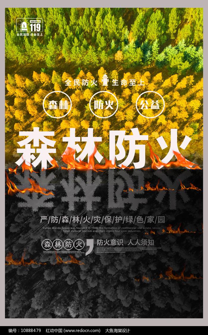 创意森林防火宣传海报设计