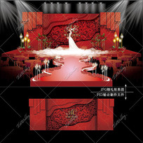 红色主题婚礼主舞台效果图设计大理石纹婚庆