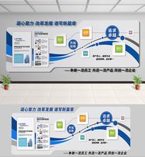 简约蓝色企业文化走廊形象文化墙