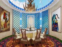 现代蒙古风格餐厅3D模型