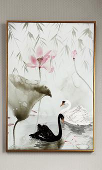 新中式水墨天鹅禅意玄关装饰画