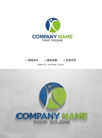 动感K字母人物运动造型企业标志