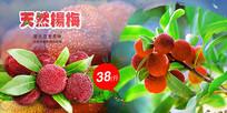 高端大气红色天然杨梅海报