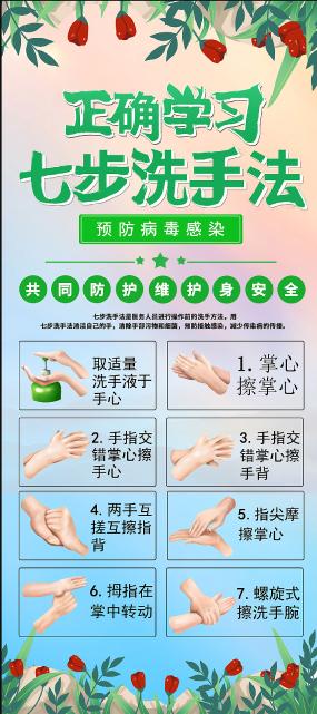 绿色简约七步洗手病毒疫情展架