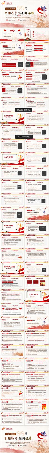 党的的光辉历程党史建党99周年ppt模板
