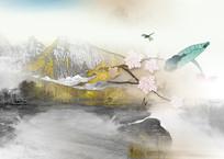 高端大气金色意境山水背景墙