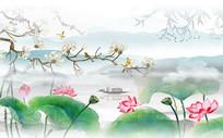 高端中式玉兰花山水背景墙