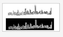 黑白广州线描图矢量图AI