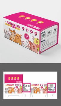 卡通动物儿童医用口罩包装盒设计