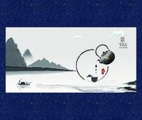 中式水墨山水茶道茶文化海报
