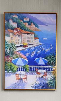 纯手绘油画浪漫海岸艺术玄关