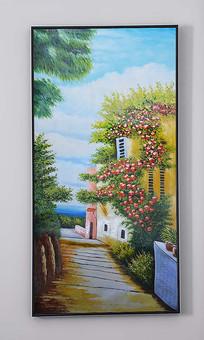 浪漫海岸小镇纯手绘油画艺术玄关