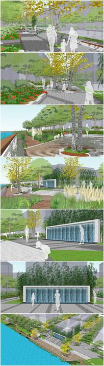 滨水公园景观广场平台设计SU模型效果图