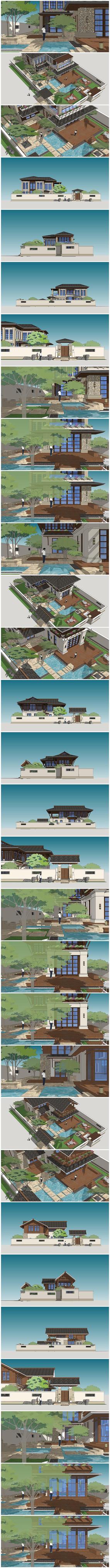 东南亚别墅花园庭院自建房建筑su模型