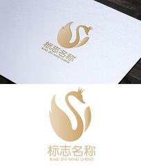 美容抽象S字母天鹅logo设计