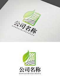 清新叶子线条企业标识logo