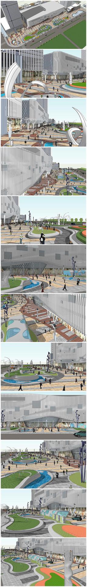 城市商业综合体广场景观小品规划设计模型