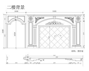 大理石玉石电视背景墙欧式CAD设计图
