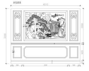大理石玉石电视沙发背景墙CAD设计图