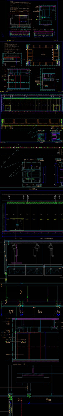 精品活动隔断CAD节点详图