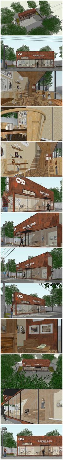 精细集装箱改造休闲咖啡屋建筑景观设计模型