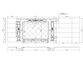 欧式大理石玉石电视背景墙CAD设计图
