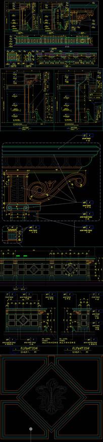 欧式酒吧台中岛台CAD设计图纸