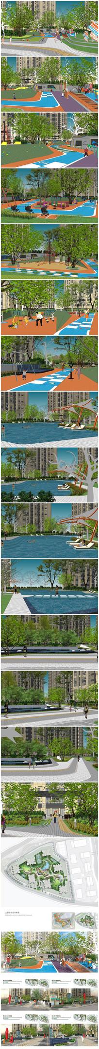 小区居住区景观设计方案SU模型