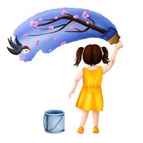 原创儿童节女孩涂鸦