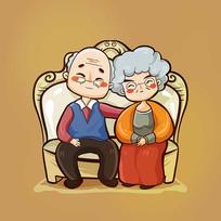 原创重阳节幸福的老年夫妇