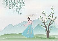 24节气雨水谷雨汉服美人插画