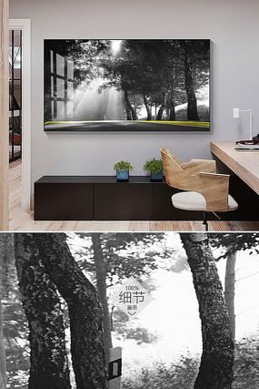 北欧黑白森林简约抽象客厅装饰画