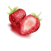 草莓手绘插画