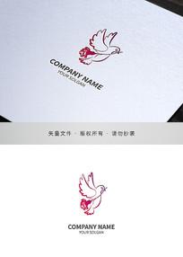 鸽子康乃馨关爱类标志设计