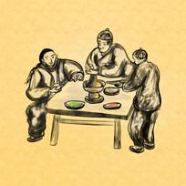 古代民间打边炉吃火锅插画元素