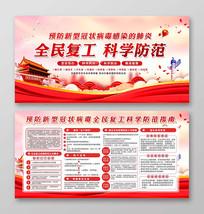 企业复工防疫工作预防新型肺炎展板设计