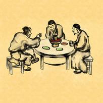 中国风古代民间打边炉吃火锅插画元素
