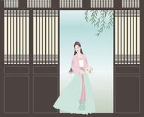 中式汉服美人人物插画