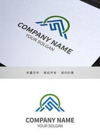 字母F山峰IT类标志设计