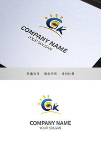 字母GK幼儿园类logo