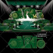 祖母绿主题婚礼效果图设计金花纹婚庆舞台
